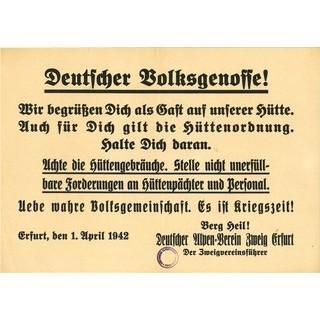 Aufruf der Sektion Erfurt zur Einhaltung der Hüttenordnung, 1942. Archiv des DAV, München