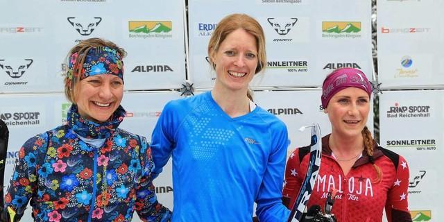 Die Siegerinnen im Vertical Race: 1.Paltz: Mayr 2. Platz: von Borstel 3. Platz: Theocharis, Foto: Willi Seebacher