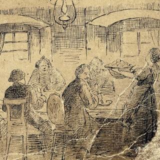 Abb.: Die Gaststube des alten Widums von Cent. Detail aus dem Fremdenbuch
