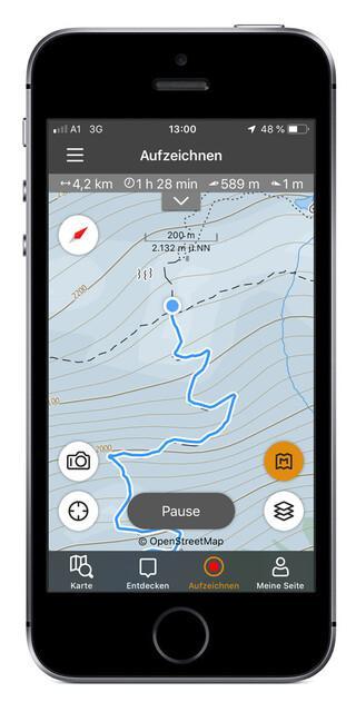 Seinen aktuellen Standort findet man auch in der alpenvereinaktiv-App, über den Kompass (oben links im Bild) heraus. Foto: alpenvereinaktiv.de
