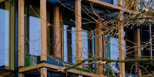 Die Holz-Glas-Fassade wird bald grün. Foto: DAV/Hauke Bendt.