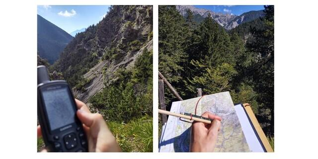 Das Gelände wird per GPS erfasst. Änderungen werden teilweise noch per Hand aufgenommen. Fotos: DAV/Nico Gareis