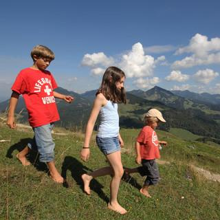 Barfußwandern an der Kranzhornalm, Foto: Pröttel