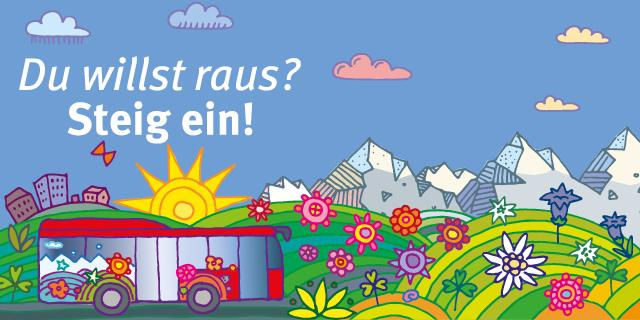 """Header Bergsteigerbus """"Du willst raus? Steig ein!"""""""