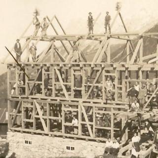 Richtfest der Falkenhütte im Karwendel, 1922, Archiv des DAV, München