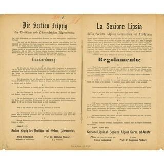 Verhaltensanweisungen. Hausordnung für die Leipziger Hütte in Deutsch und Italienisch, 1879. Archiv des DAV, München
