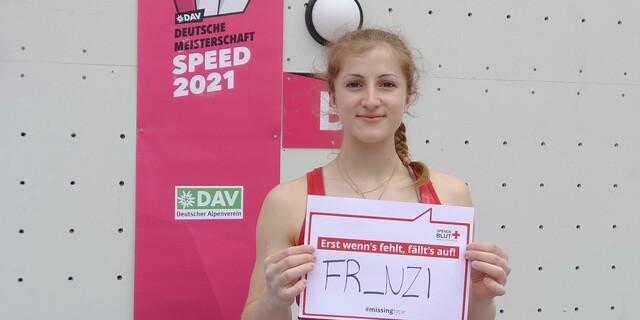 Auch die schnellste Deutsche an der Speed-Wand, Franziska Ritter, macht sich fürs Blutspenden stark.  Foto: DAV