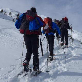 Aufstieg zum Lumberger Grat: So sieht es beim Aufstieg mit der Gruppe aus..... Foto: Thomas Krobbach
