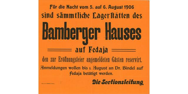 Anschlag zur Eröffnung des Bamberger Hauses, 1906