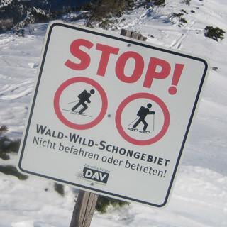 Skibergsteigen Schild Schongebiet