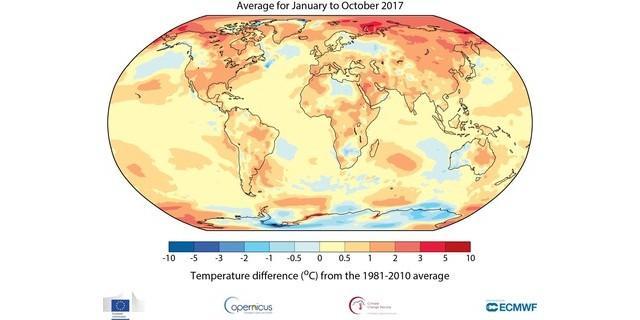 Abweichung der globalen Mitteltemperatur zum Mittelwert von 1981-2010. Quelle: WMO