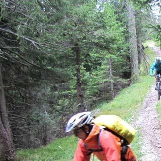 Trail nach Gossensass - Singletrailvergnügen auf dem Wanderweg Richtung Gossensass.
