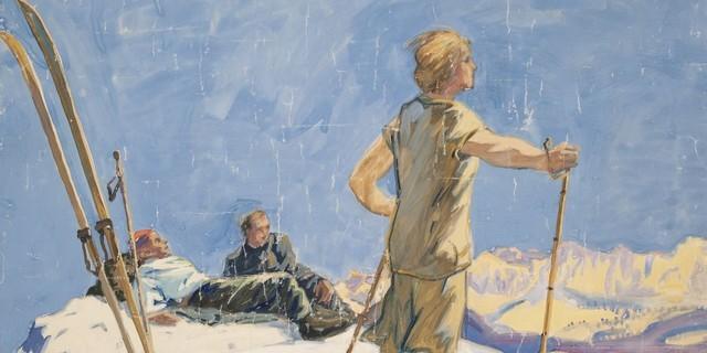 Otto Bauriedl. Gipfelrast auf einer Skitour, Tempera auf Papier, 1920er Jahre. Aufnahme Bettina Warnecke, 2019. Copyright: Alpines Museum DAV