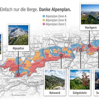 Acht prominente Bergsbeispiele - hier schützt der Alpenplan vor Erschließung durch Seilbahnen und Lifte