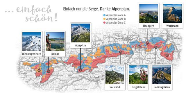 Acht prominente Bergbeispiele – hier schützt der Alpenplan vor Erschließung durch Seilbahnen und Lifte.