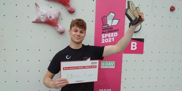 Linus Bader ist seit letzter Woche stolzer Deutscher Meister im Speed-Klettern und steht hinter der Kampagne des Blutspendedienstes.  Foto: DAV