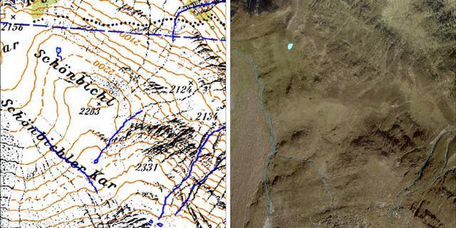 Im Bereich Schönbichler Kar wird ersichtlich, dass ein See samt Bach verschwunden ist. Mögliche Erklärungen: Abnahme des Grundwasserspiegels, wodurch die Quelle versiegt sein könnte. Es könnte sich aber auch um einen periodischen Bach gehandelt haben, der nur zeitweise Wasser führte und somit in der alten DAV-Karte falsch eingezeichnet war.