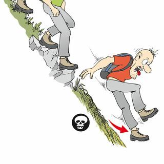 Stufige Graspolster und Tritte im soliden Fels versprechen Halt im weglosen Gelände. Langes Gras dagegen wird schnell zur Rutschbahn und verlangt präzises Treten.