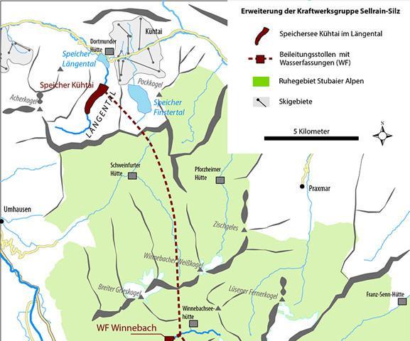 Ausbaupläne in den Stubaier Alpen. (Graphik: DAV)