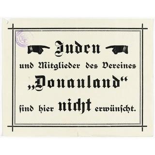 Antisemitischer Anschlag, ausgehängt auf Hütten der Sektion Austria, 1921. Archiv des ÖAV, Innsbruck