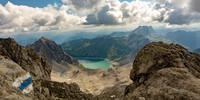 Abstieg von der Schesaplana, Blick weit über das Brandnertal zum Lünersee. Foto: Ute Watzl