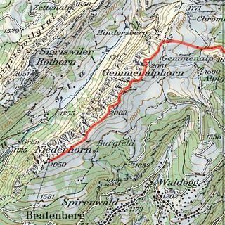 Tour Niederhorn-Gemmelalphorn, Karte: Bundesamt für Landestopografie swisstopo