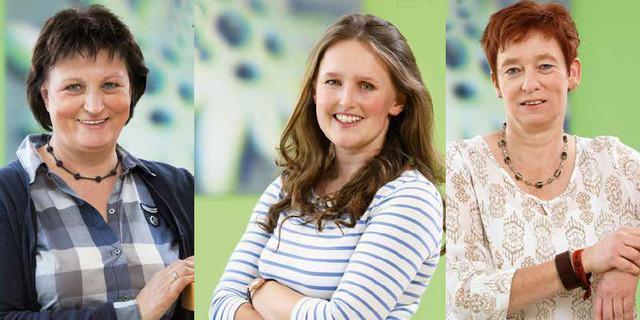 Burgi Beste, Sunnyi Mews und Melanie Grimm (v. re.) im Interview. Bilder: DAV/Archiv