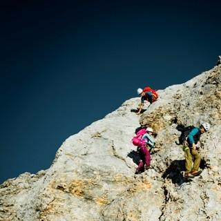 Schlüsselstelle - Eine erste Schlüsselstelle ist eine ca. 20 Meter lange Kletterpassage zum Abklettern.
