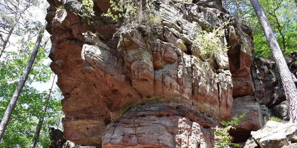 Die hohe Sandsteinmauer der Seelenfelsen fasziniert mich. Foto: Günter Kromer