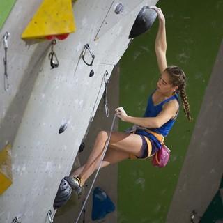 Johanna Holfeld beim Deutschen Leadcup in Neu-Ulm, Foto: DAV/Marco Kost