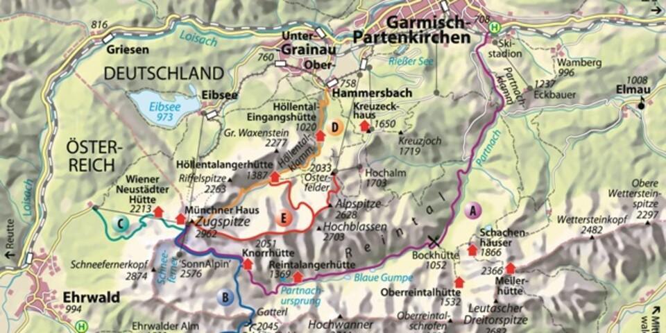 Karte - Die Reintalroute A. Karte, Abbildung: Christian Rolle