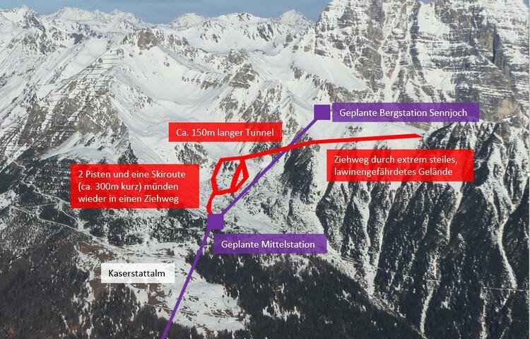 Erschließungspläne für Zubringerbahn von Neustift i. Stubaital ins Skigebiet Schlick 2000 (Sennjoch) über die Kaserstattalm. Foto: goldsutten.com