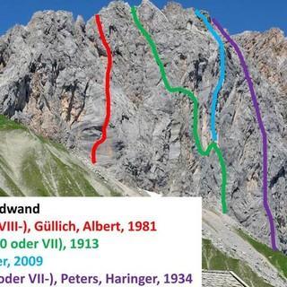 Routen durch die Südwand der Schüsselkarspitze, Foto: Christian Rauch