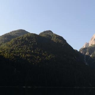 Raibler See - Es geht los: Morgenstimmung am Raibler See mit der Cima del Lago, Foto: Andi Dick