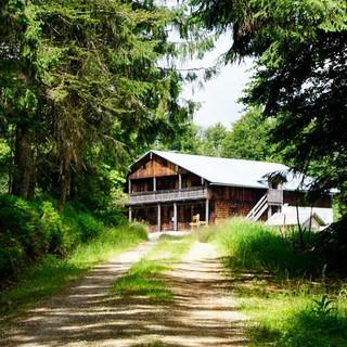 """Auf der Waldlichtung um den """"Tummelplatz"""" unterhalb des Lusen steht eine früher bewirtschaftete Forst-Diensthütte. Foto: Joachim Chwaszcza"""