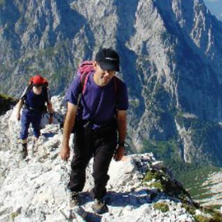 Bergsteiger an der Alpspitze, Wettersteingebirge, Deutschland