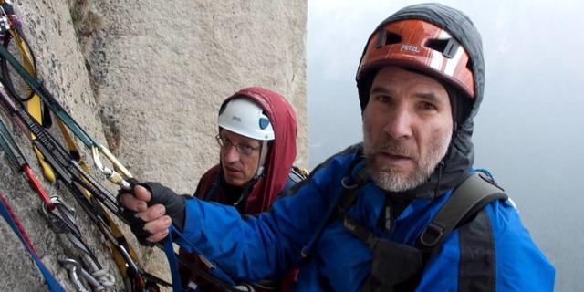 Andi Roth und Walter Treibel  am El Capitan im Gewitter. Walter ist vom Blitz gelähmt. Foto: Heinz Zak