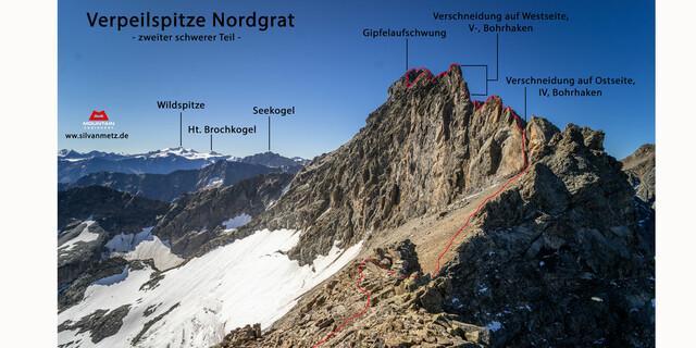 Zweiter, schwerer Teil des Nordgrats der Verpeilspitze. Grafik: Silvan Metz