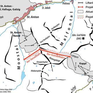 Der geplante Zusammenschluss zwischen St. Anton (Rendl) mit Kappl im Paznauntal