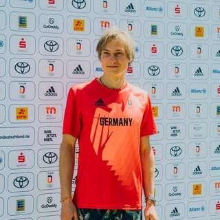 Alex Megos bei der Einkleidung in München am 28. Juni. Foto: Team Deutschland/Max Galys
