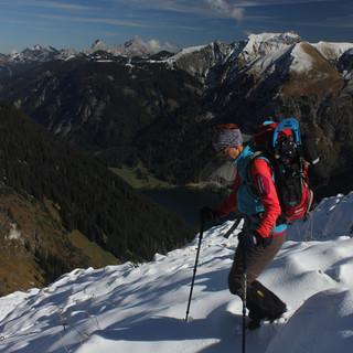 In höheren Lagen wie hier am Rauhorn (Allgäuer Alpen) dürfte der Schnee zwischenzeitlich liegen bleiben. Foto Pröttel