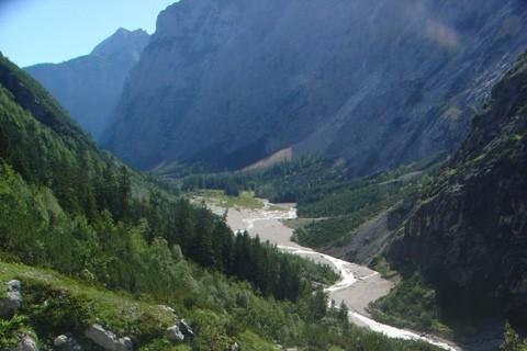 Rückblick zum Reintalanger - Nach dem Reintalanger folgt ein steilerer Aufstieg zur Knorrhütte.