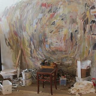 Kilian Lipps Malwinkel im Atelier, Foto: Gaby Funk