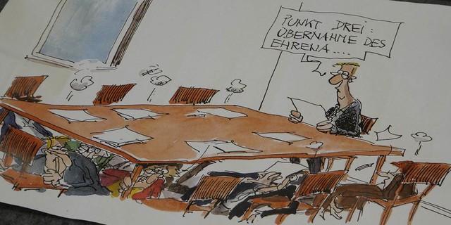 Ehrenamt in Not - auch in der JDAV? - Karikatur: Thomas Plaßmann