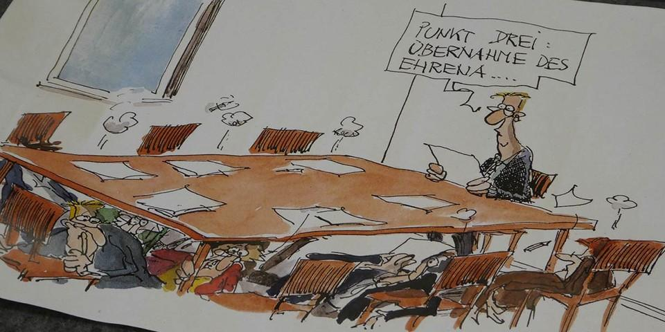 Ehrenamt in Not - auch in der JDAV? - Karikatur: Thomas Plaßmann