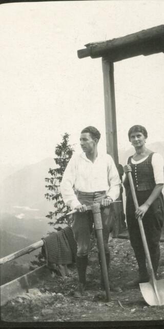 Wegearbeiten bei den Brunnenkopfhäusern, 1921, Archiv des DAV, München