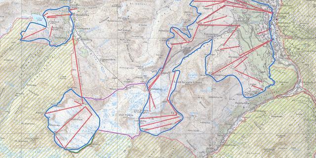 Das Tiroler Raumordnungsprogramm sieht die Fläche zwischen den Skigebieten (blau) als offizielle Erweiterungsfläche (lila) vor.