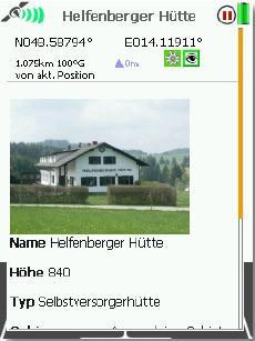Screenshot 4 - Die Hütten können einfach per Knopfdruck auf der Karte angezeigt werden