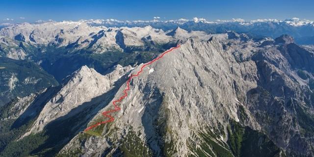 Routenverlauf Hocheck. Luftbild: Jörg Bodenbender