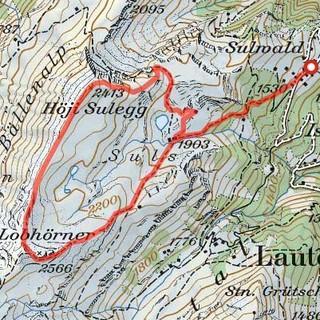 Tour Lobhorn-Sulegg, Karte: Bundesamt für Landestopografie swisstopo